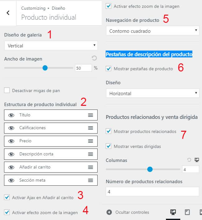 ajustes producto individual woocommerce astra plantilla