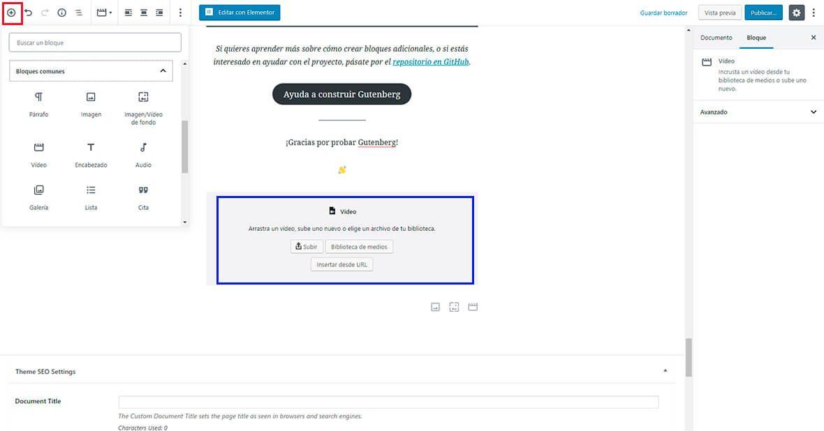 Insertar una video en Gutenberg Diseño web Vilafranca del Penedes