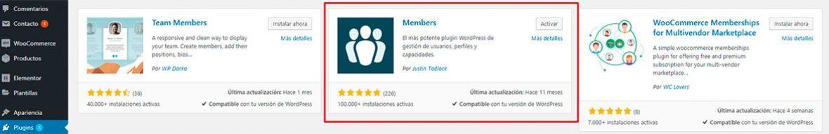 Configurar plugin members