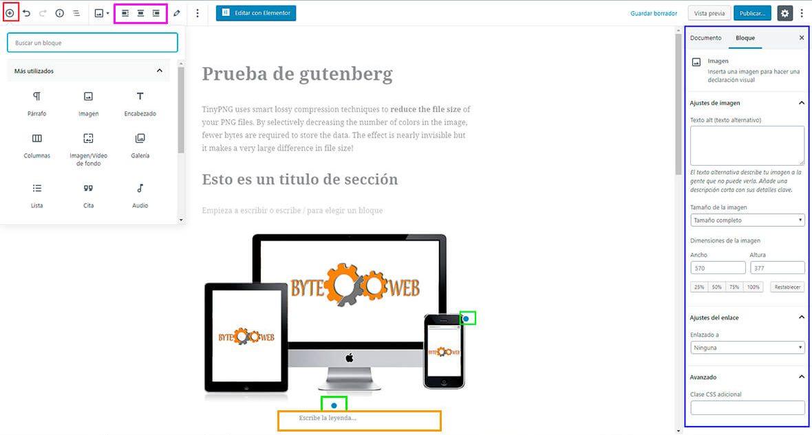 Maquetar entradas con Gutenberg WordPress