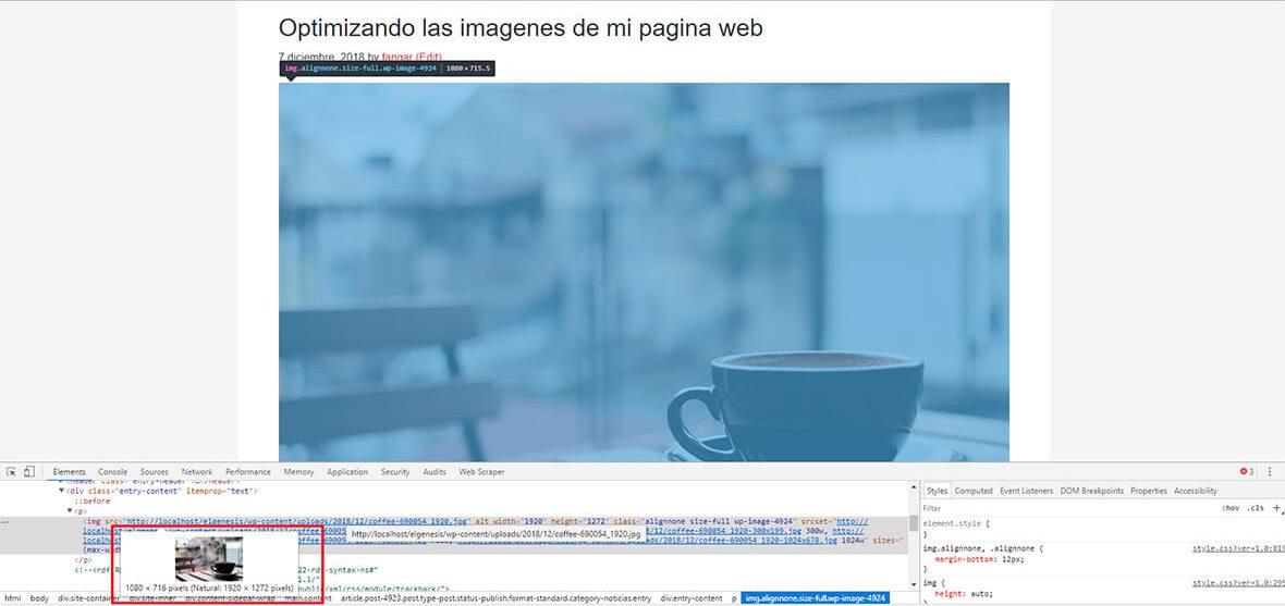 Optimizar imagenes para pagina web