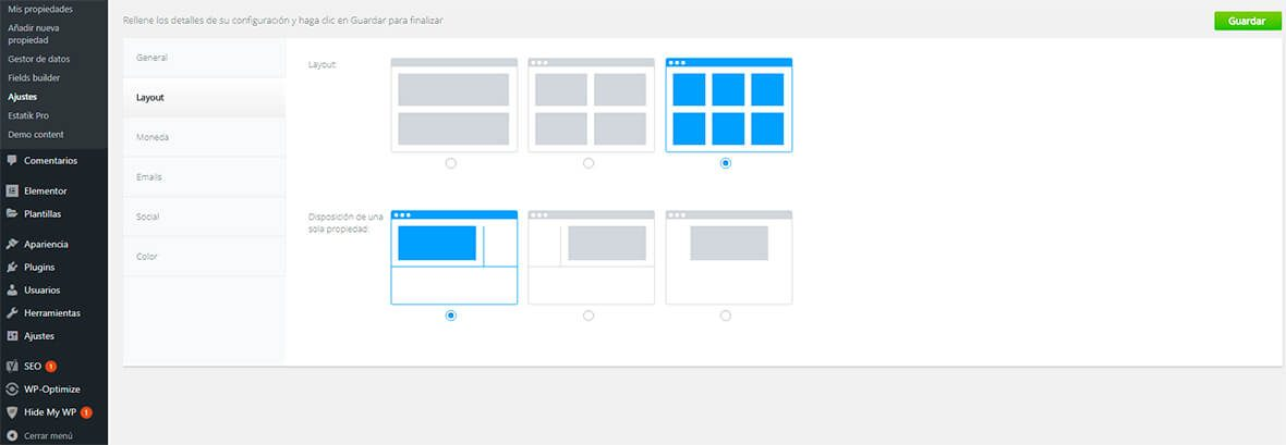 configurar layout estatik wordpress