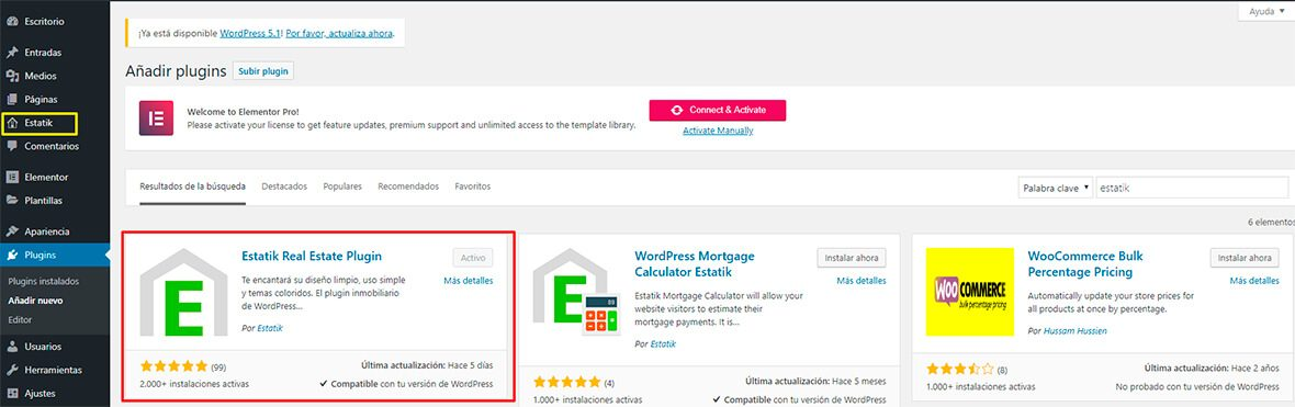 instalar estatik WordPress