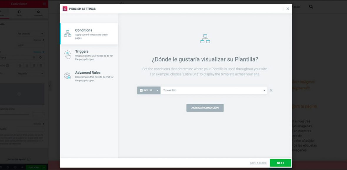 popup para WordPress con Elementor