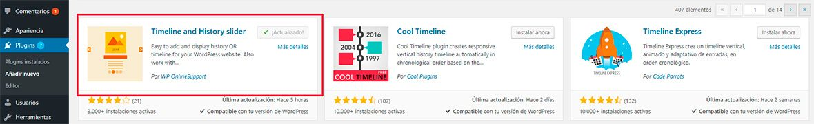 Timeline con timeline slider