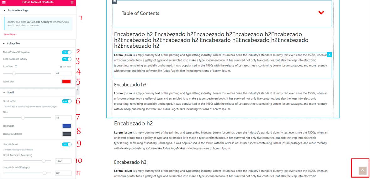 Como crear tablas de contenidos con ultimate addons for elementor