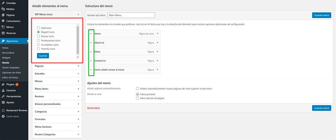 Añadir icons al menú WordPress con wp icons menu