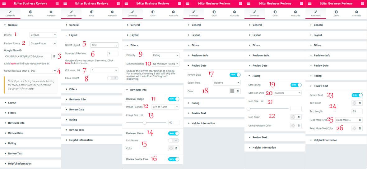 Ajustes reseñas google Ultimate addons for Elementor plugin