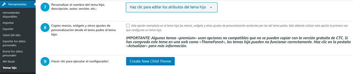 configurar child theme configurator