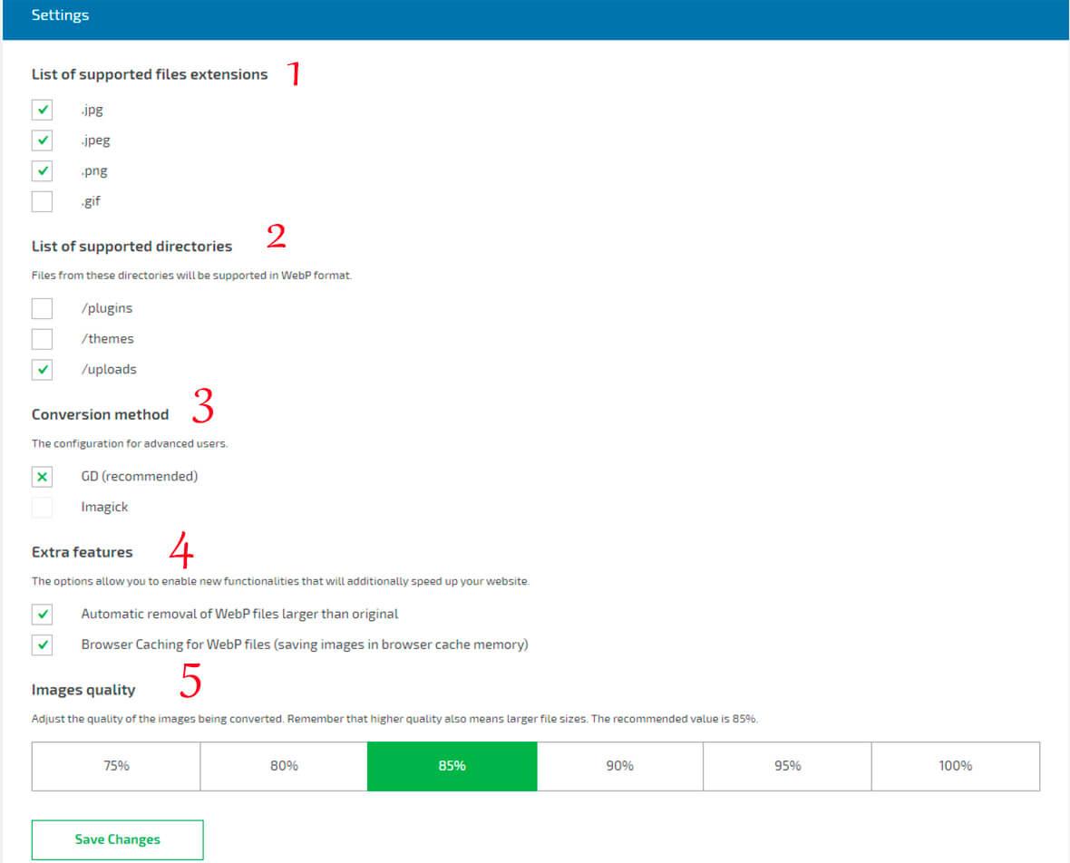 Webp media converter Configuración