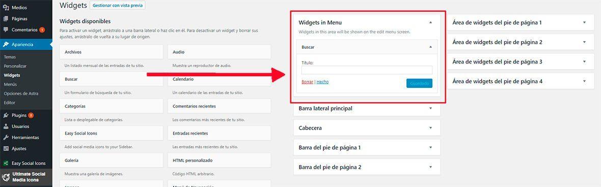 Añadir widget al menu WordPress